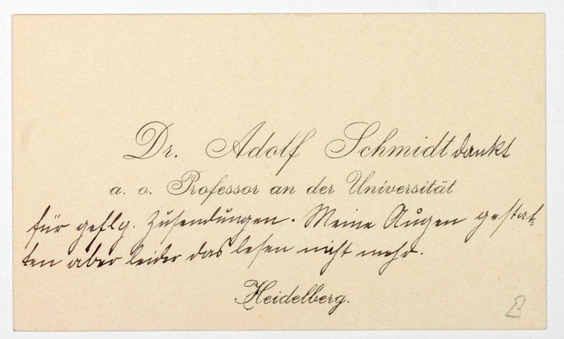 Schmidt Adolf An Eigenhändiges Billett Auf Seiner